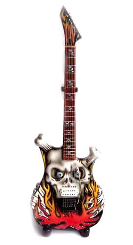 Guitare Miniature George Lynch Carved Flaming Skull