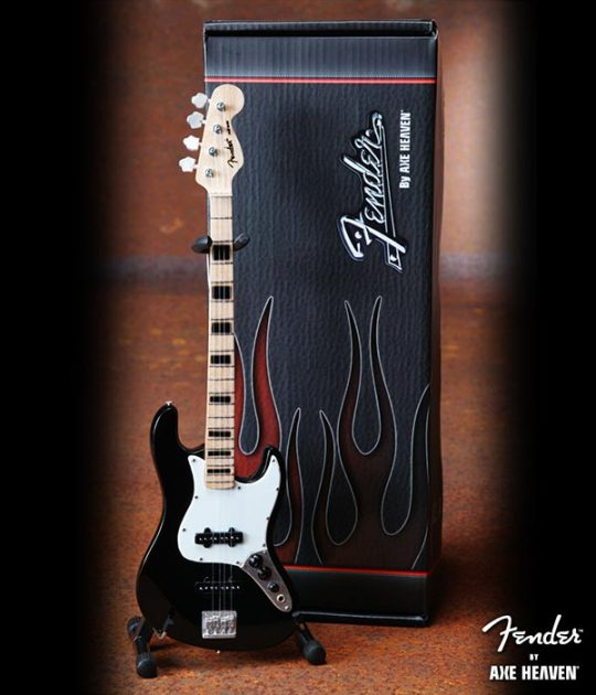 Guitare Basse Miniature - Officially Licensed Black Fender™ Jazz Bass™ - Black Inlays
