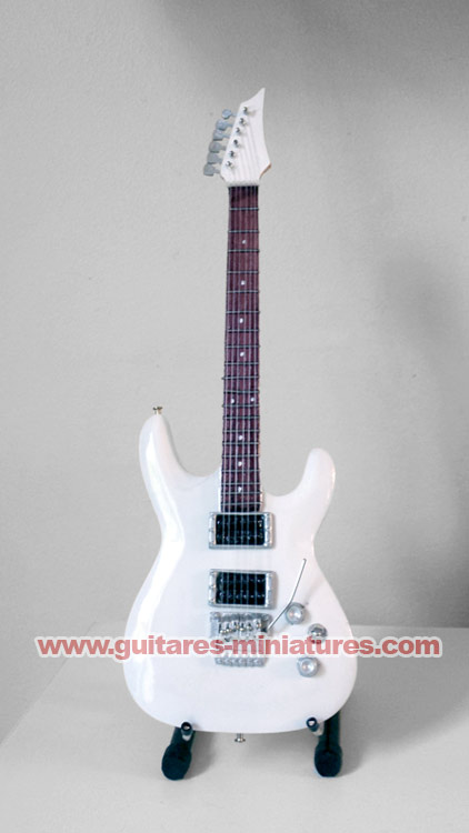 Guitare Miniature Style Joe Satriani White Signature