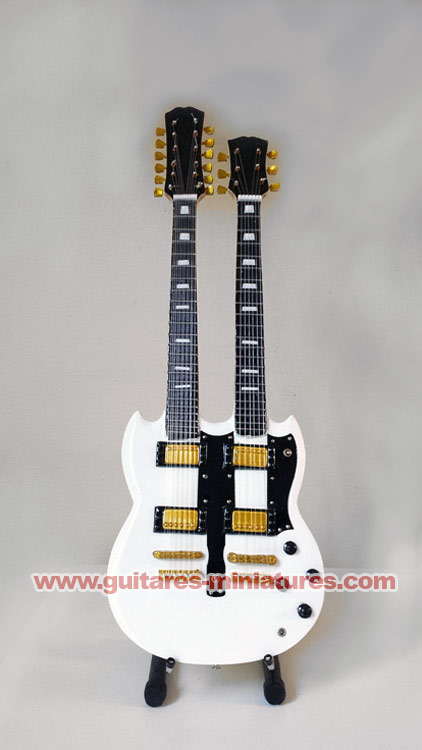 Guitare Miniature Alex Lifeson Style SG Double-Neck White