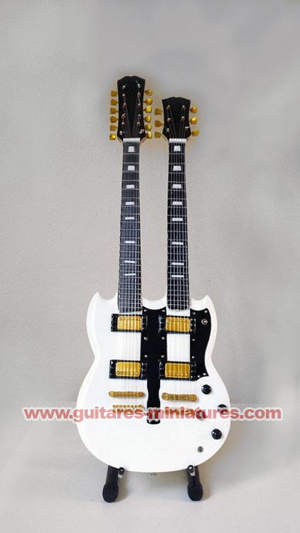 Guitare Miniature Alex Lifeson Style SG Double-Neck White